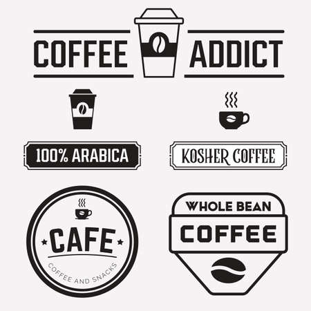 Coffee labels and badges vector set. Paper cup, cafe print typography and logo design. Latte cup, espresso, kosher badge and arabica whole bean.