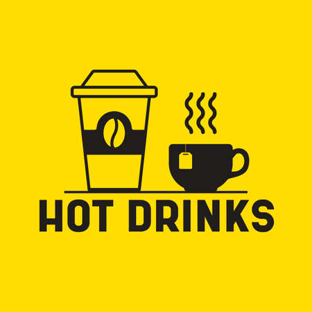 Hot drinks icon. Vector paper cup and tea mug symbolizing a hot drinks section in menu board.