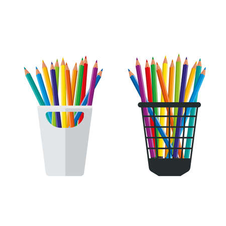 Colored Crayons in a pencil stand vector illustration Illustration