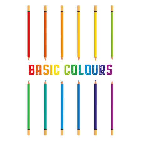Colored crayons, color pencils 12 basic colours vector illustration with space for text isolated on white.