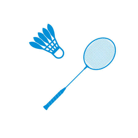 Badminton shuttlecock and racket icon Vector Illustration on the white background.