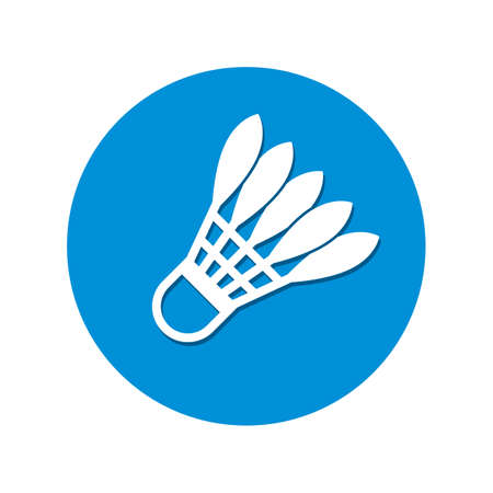 Vector badminton shuttlecocks stylized icon with feathers in circle.
