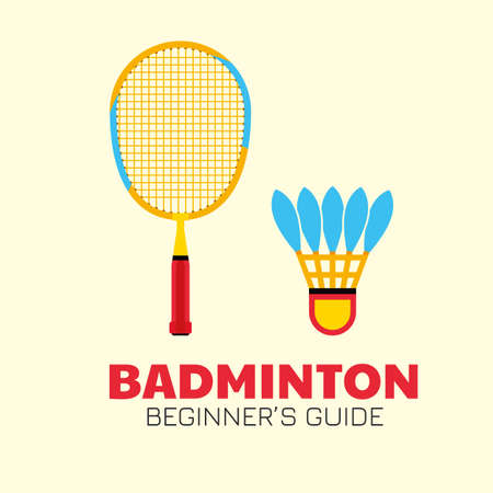 Badminton colorful racket with shuttlecock kit. Colorful beginner badminton equipment. Vector illustration with text isolated.