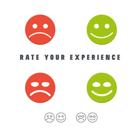 Rate your experience customer survey emoticons. Feedback good or bad. Positive or negative review. Vector illustration.