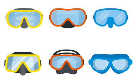 Scuba diving mask vector set. Underwater equipment for divers. Illustration
