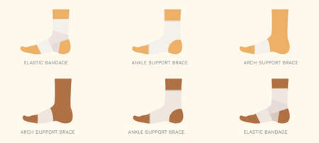 Foot bandage types. Elastic wrap, compression brace, ankle and arch support. Vector medical and health care illustration. Illustration