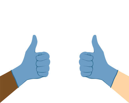 Thumbs up in medical gloves. Multi-ethnic surgeon doctor hands in protective gloves with their thumb up. Like, approve and good job gesture coronavirus protection. Flat vector illustration. Illustration
