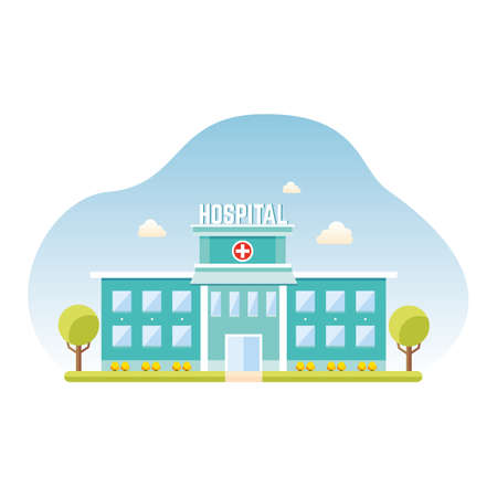 Hospital building. Medical clinic, healthcare facility exterior, health care building.Vector illustration. Illustration