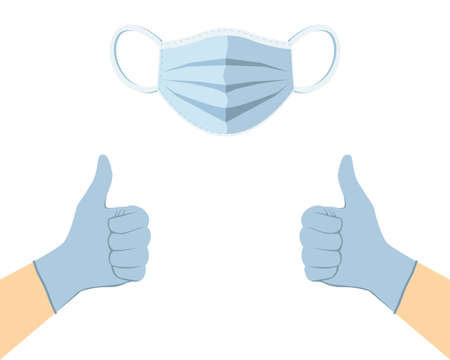 Face mask and disposable medical gloves with thumbs up. Vector illustration.