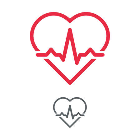 Heart with electrocardiogram pulse graph. Cardiac echo symbol, ECG or EKG examination. Health care concept. Vector outline illustration.