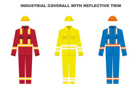 Industrial work wear coverall with reflective trim. Construction worker uniform color types. Vector illustration.