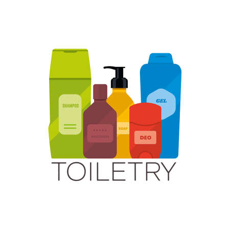 Toiletries flat vector illustration. Personal care and hygiene products, such as shampoo, moisturizer, deodorant, shover gel. Basic wash bag.
