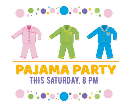 Pajama party vector illustration isolated on white. Illustration