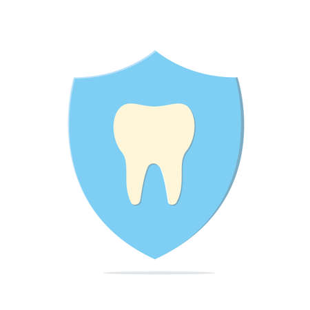 Healthy tooth in a shield on white background isolated. Vector illustration. Illustration