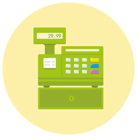 Cash register flat icon vector illustration.