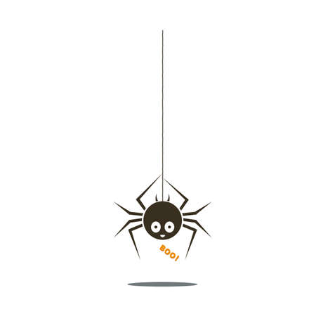 Black spider. Halloween funny childish spider hanging from the top with cute smiley face and text Boo. Vector illustration. Illustration
