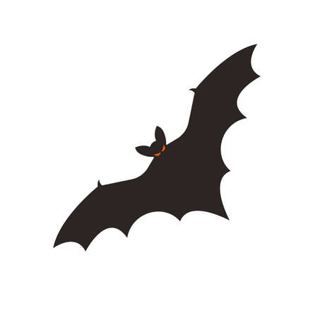 Black bat. Spooky halloween silhouette. vector illustration.