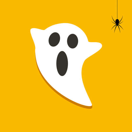 Halloween ghost and frightened of a spider. Vector spooky illustration.