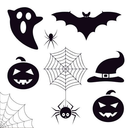 Halloween symbols collection. Trick or treat icons set. Bat, ghost, spiders, pumpkin, cobweb, witch hat. Decoration graphic elements. Vector illustration. Illustration
