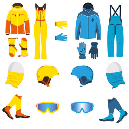 Ski wear vector illustration. Waterproof, breathable men and women clothing for winter sports and recreation. Jacket, salopettes, gloves, snowboard helmet, neck warmer buff, socks, goggles sunglasses. Illustration