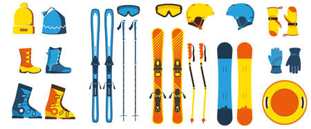 Ski gear and equipment vector illustration. Hats, boots, skis, snowboards, helmets, poles, mittens, sled. Snow winter sports.