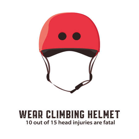 Climbing helmet. Mountaineering safety equipment. Vector illustration. Illustration