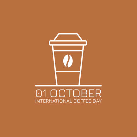 International Coffee Day outline vector illustration. Paper cup, bean and text.