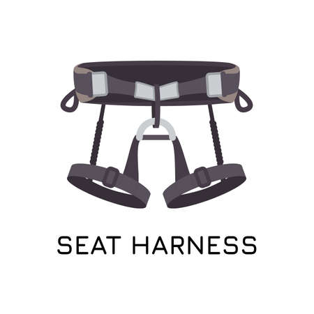 Climbing sit harness. A waist belt and two leg loops connected through a belay loop. Abseiling , mountaineering, rappeling and rock climbing equipment vector illustration. Illustration