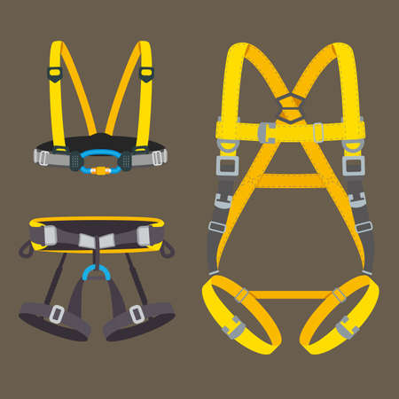 Safety harness fall protection set. Climbing, mountaineering, abseiling or rappelling gear. Industrial or construction safety seat belt, chest and full body types. Vector illustration.