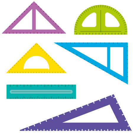 Colorful flat rulers set. School and office stationery measurement tools. Vector illustration.