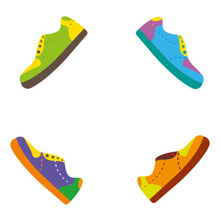 Colorful shoes with creative bright color pallete. Vector illustration Illustration