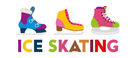 Colorful ice skates vector illustration. Winter outdoor activity.