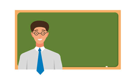 Teacher in front of chalkboard with copy space for text. Vector illustration Illustration