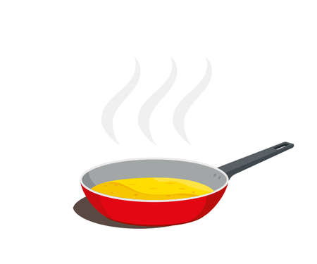 Frying pan with food cooking and empty. Vector illustration. Illustration