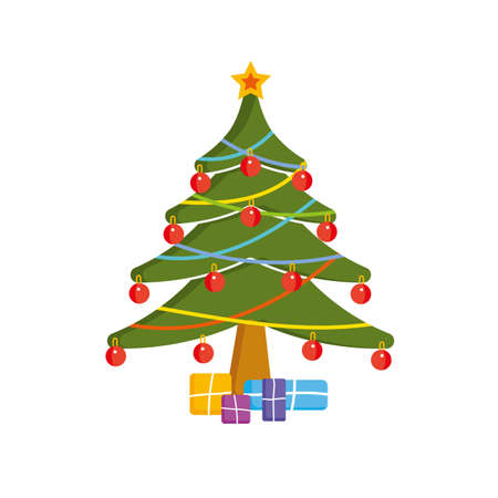 Simple christmas tree with presents. Vector illustration.