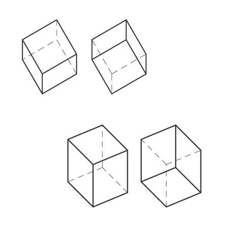 Box technical 3D drawing. Orthographic view two point perspective. Vector Illustration.