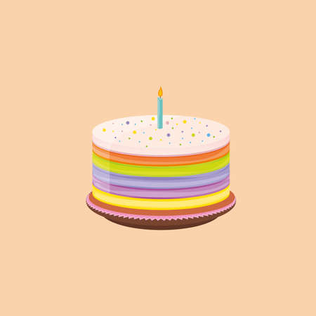 Birthday cake vector illustration with colorful layers and a candy on top.