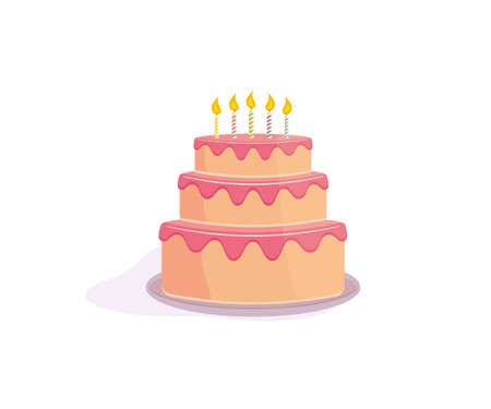 Vector cake with candles and cream illustration. Happy birthday wish card design element.
