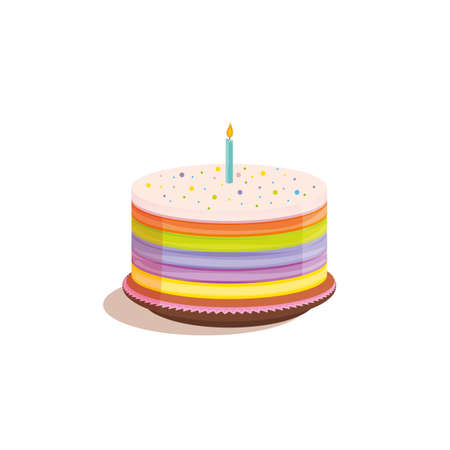 Birthday cake vector illustration with colorful layers and a candle on top.