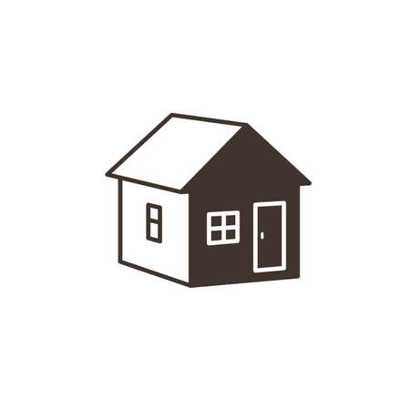 Home vector icon. House in positive-negative design style. Illustration