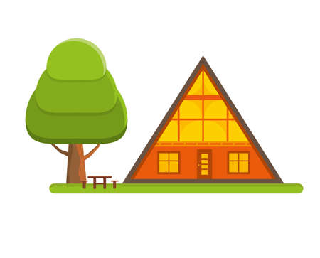 Cozy cabin house in a woods. Family gateway lodge in a forest. Vacation home outdoors. Vector illustration.