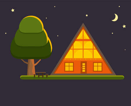 Cozy cabin house in a woods by night. Family gateway lodge in a forest with stars and moon. Vacation home outdoors. Vector illustration. Illustration