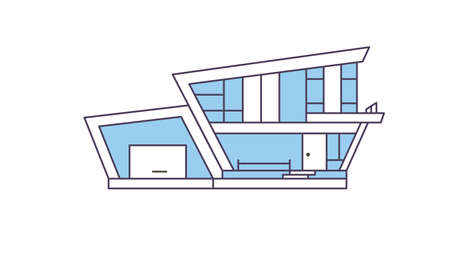 Modern house design. Real estate company. Building exterior. Family home. Flat design vector illustration.