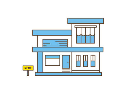 Modern house outline flat vector illustration. Real estate and house for rent and sale. Stylish residential building design.
