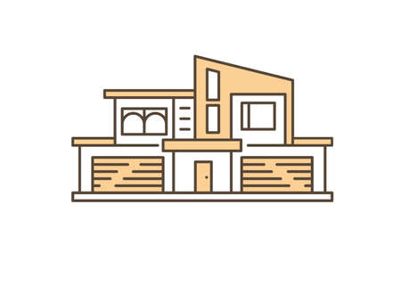 Modern house with two garages outline flat vector illustration. Real estate and house for rent and sale. Stylish residential building exterior design.