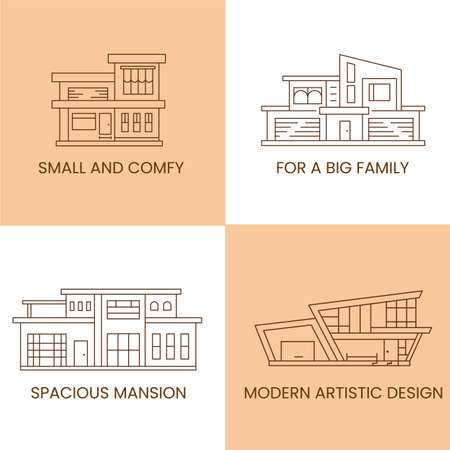 Real estate houses types. Home for small and big family, compact, spacious mansion and moder artistic design. Property for rent categories, outline vector icons.