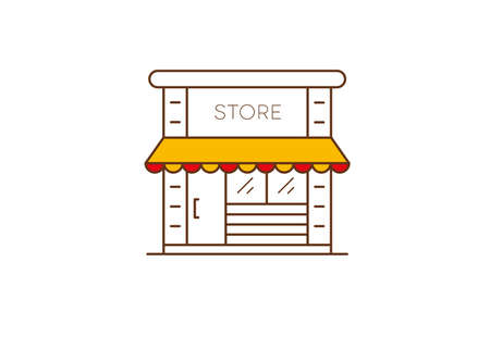 Online Store icon. Shop symbol. Outline with orange and red tent. Vector illustration. Illustration