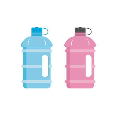 Sport water bottle with a handle. Vector illustration.