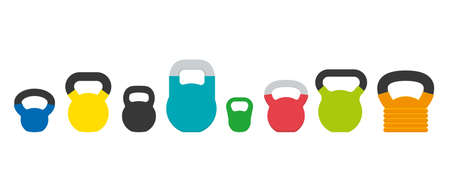 Set of various kettlebells for fitness and weightlifting, ballistic exercises, strength and flexibility training. Sport equipment vector illustration