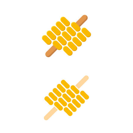 Grilled or roasted corn on a skewer or cob concept. Flat design Vector Illustration. Illustration